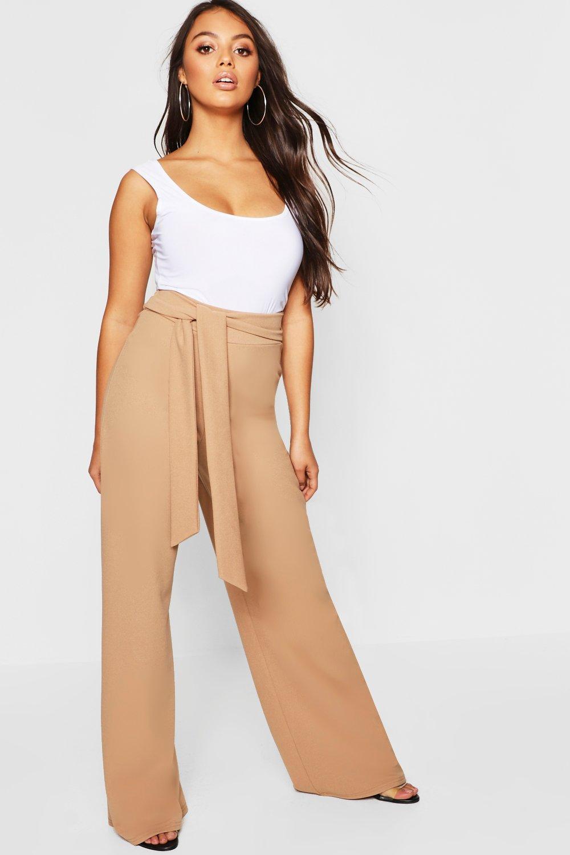 3b23f1892560c Boohoo. Women's Petite Wide Leg Tie Belt Trouser