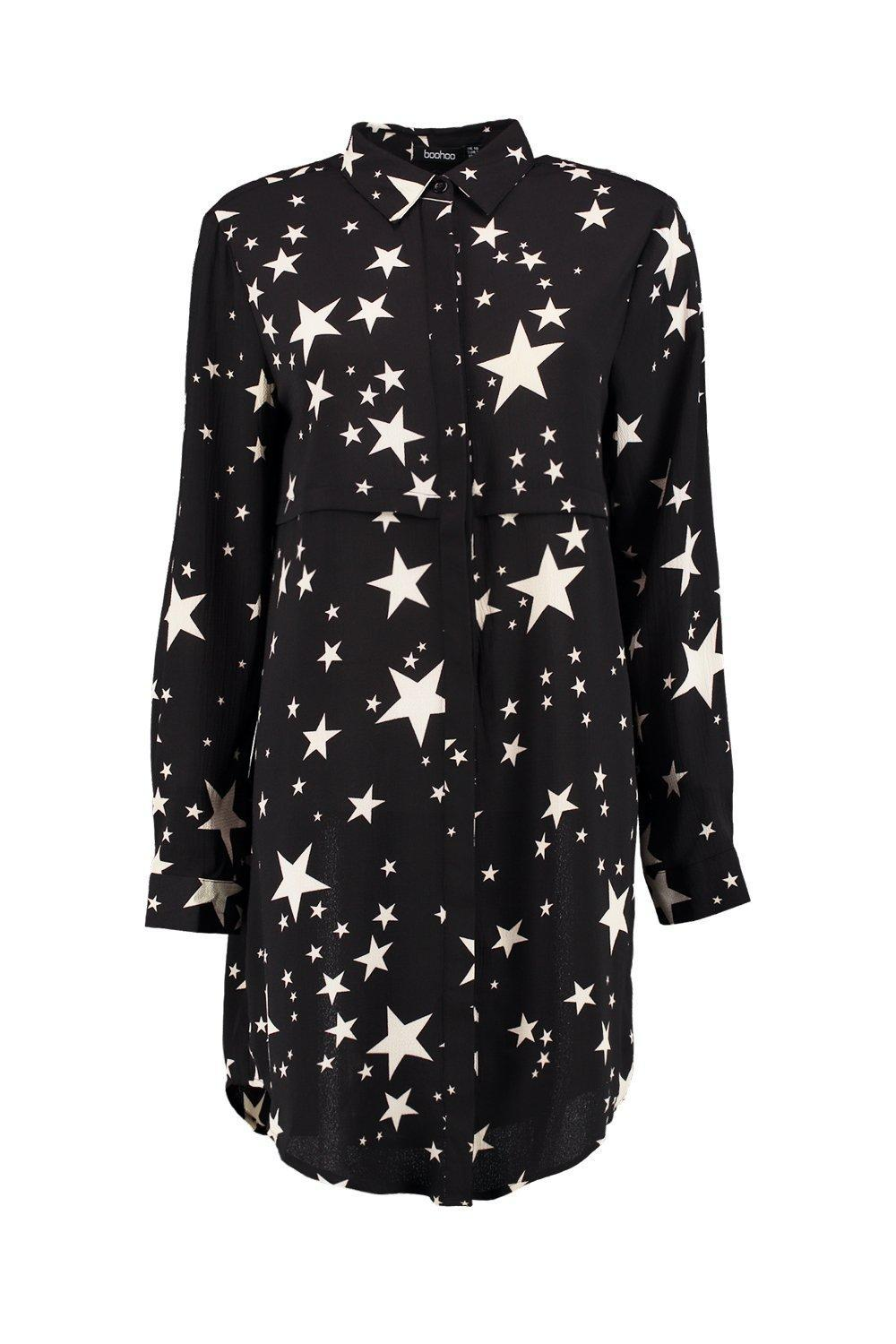 3e214894b2 Boohoo Bowie Star Print Shirt Dress in Black - Lyst