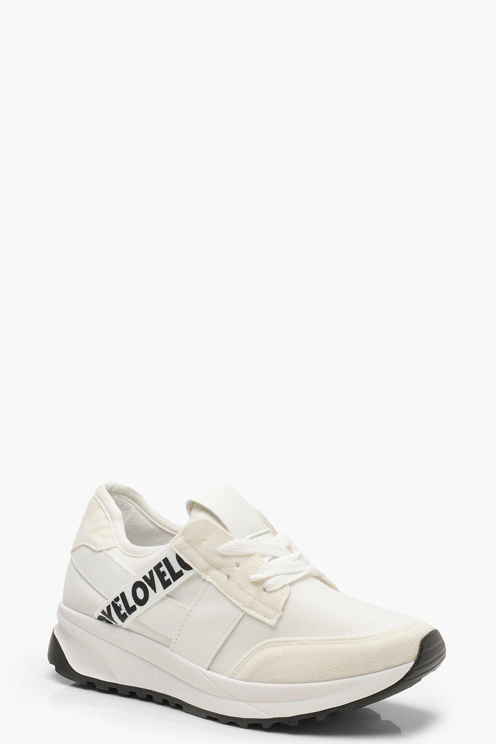 171f00589f33 Boohoo Tape Detail Sports Trainers in White - Lyst