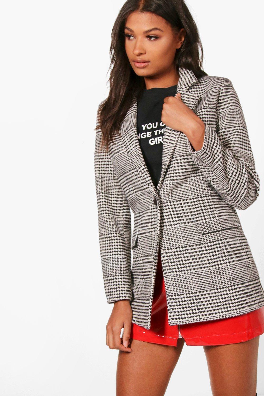 5dc04911105a Boohoo Check Wool Look Blazer Coat - Lyst