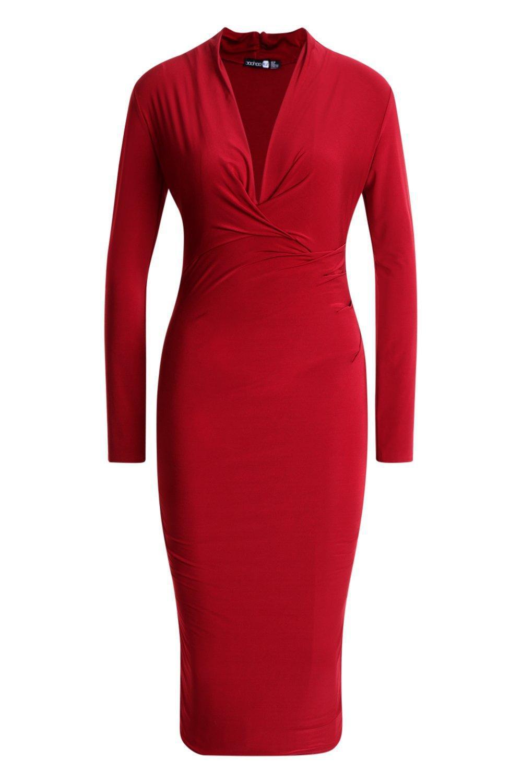 ... Slinky Plunge Neck Long Sleeve Midi Dress - Lyst. View fullscreen 986058ee4