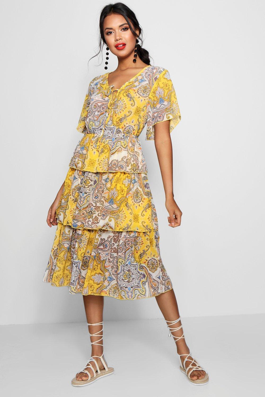 d28e282755f01 Boohoo Layered Paisley Print Midi Dress in Yellow - Lyst