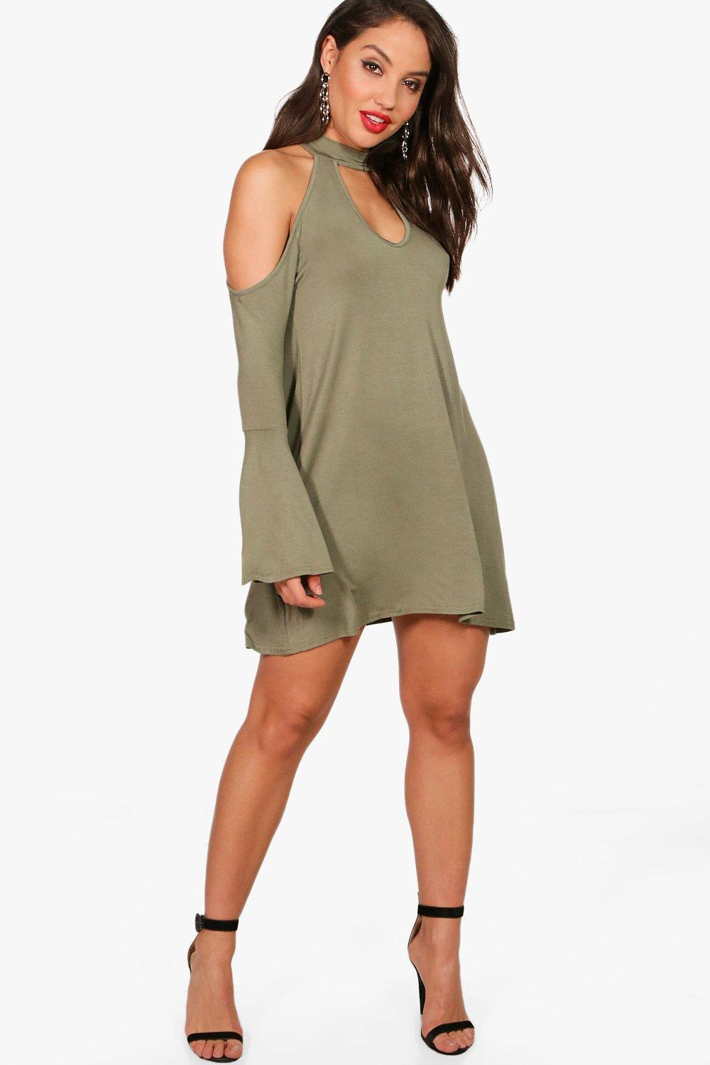9684d830e3b0 Lyst - Boohoo Cold Shoulder Choker Swing Dress in Green