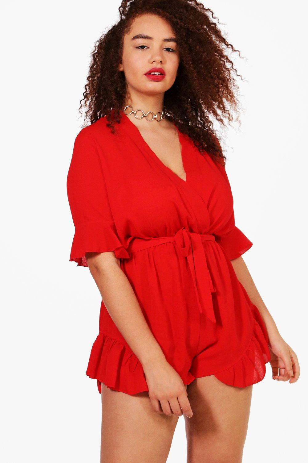 6e06d14544 Boohoo Plus Ruffle Hem Playsuit in Red - Lyst