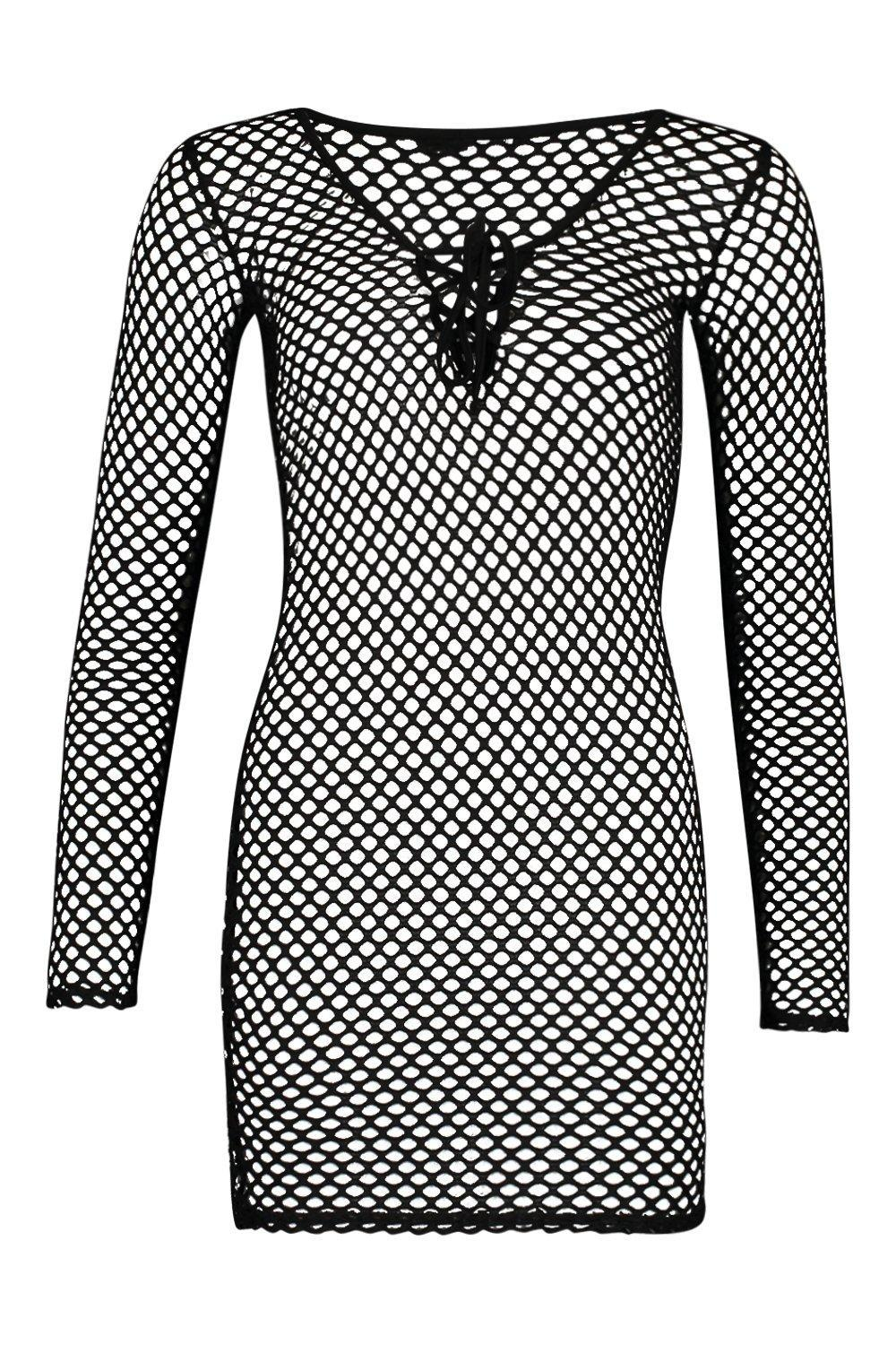e936336b35 Boohoo - Black Lace Up Fishnet Beach Dress - Lyst. View fullscreen