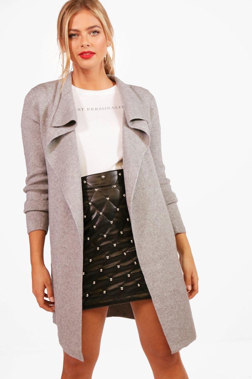 Boohoo Leah Zip Pocket Waterfall Cardigan in Gray | Lyst