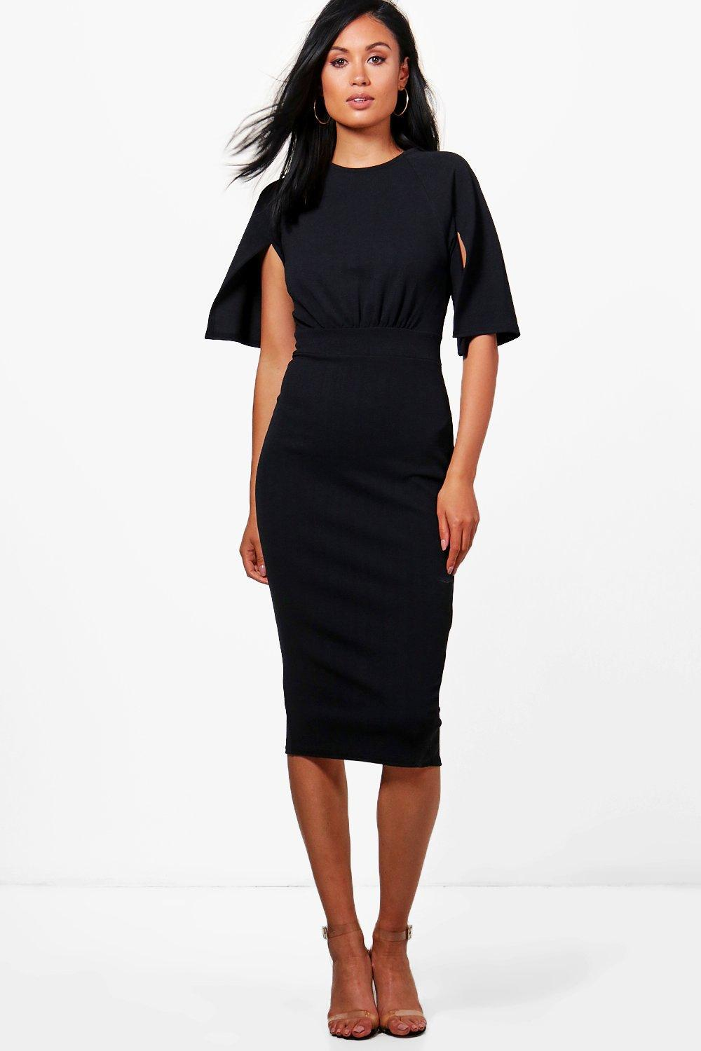 cdcd54fe566 Boohoo Cesca Split Sleeve Detail Wiggle Midi Dress in Black - Lyst