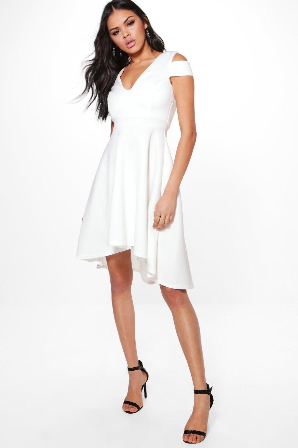 1704c827e906 Boohoo Clea Bardot Plunge Skater Dress in White - Lyst