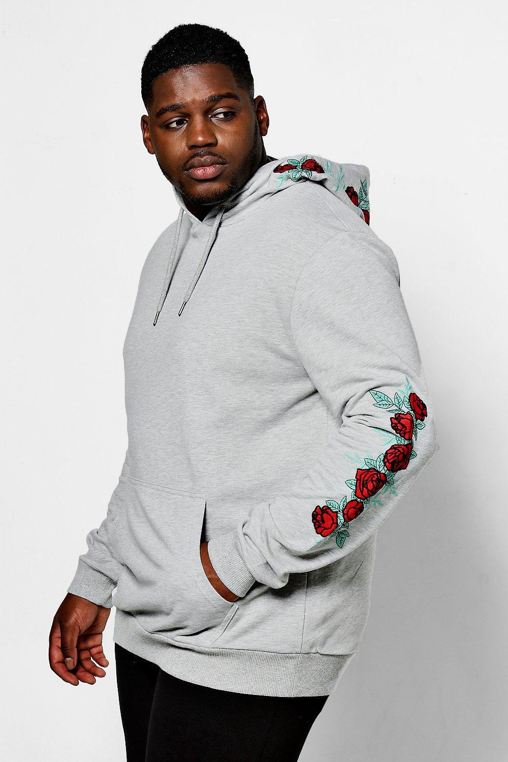Big And Tall Rose Embroidered Hoodie Rqho3FaSl