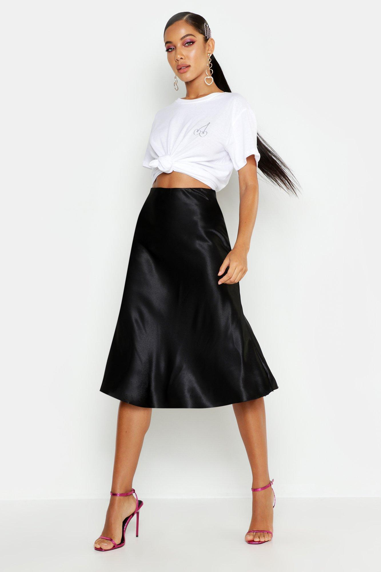 071e59414 Boohoo - Black Satin Bias Cut Slip Midi Skirt - Lyst. View fullscreen
