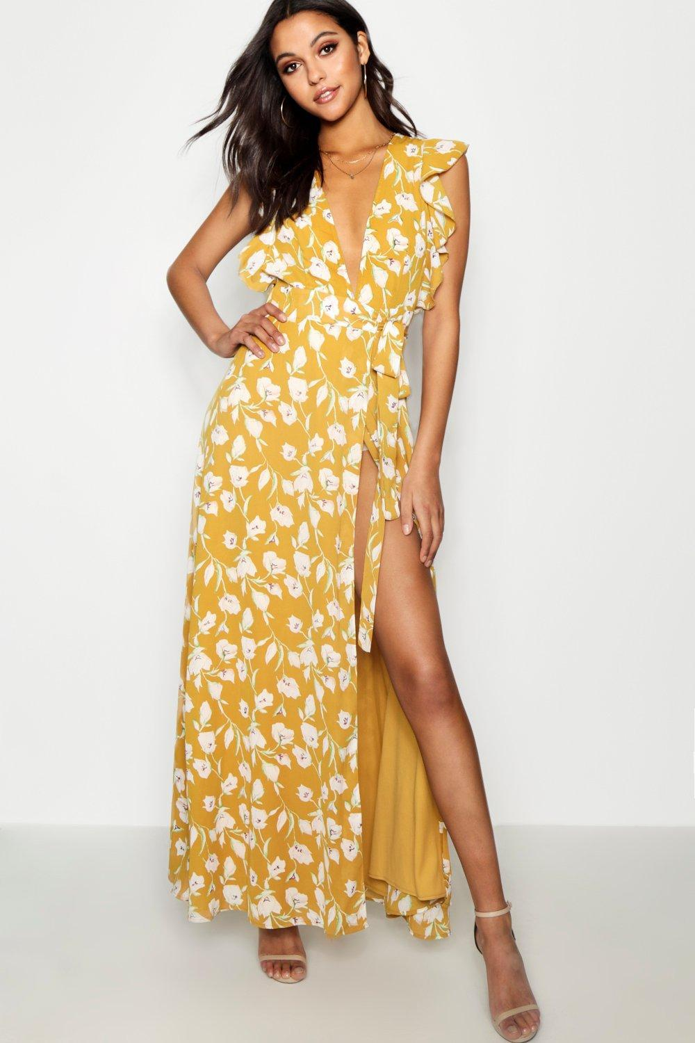 b648cce0cf07 Boohoo Floral Frill Detail Wrap Maxi Dress in Yellow - Save 55% - Lyst