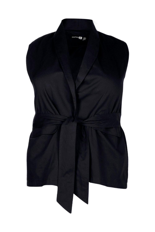 33ec52893791f5 Lyst - Boohoo Plus Jane Sleeveless Tie Waist Utility Jacket in Black