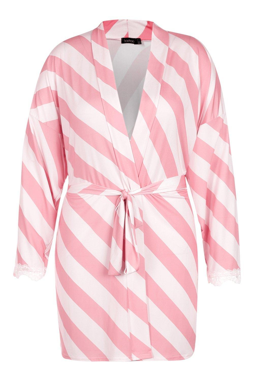 8e710ac9db64 Boohoo - Pink Gemma Collins Short Lace Trim Robe - Lyst. View fullscreen
