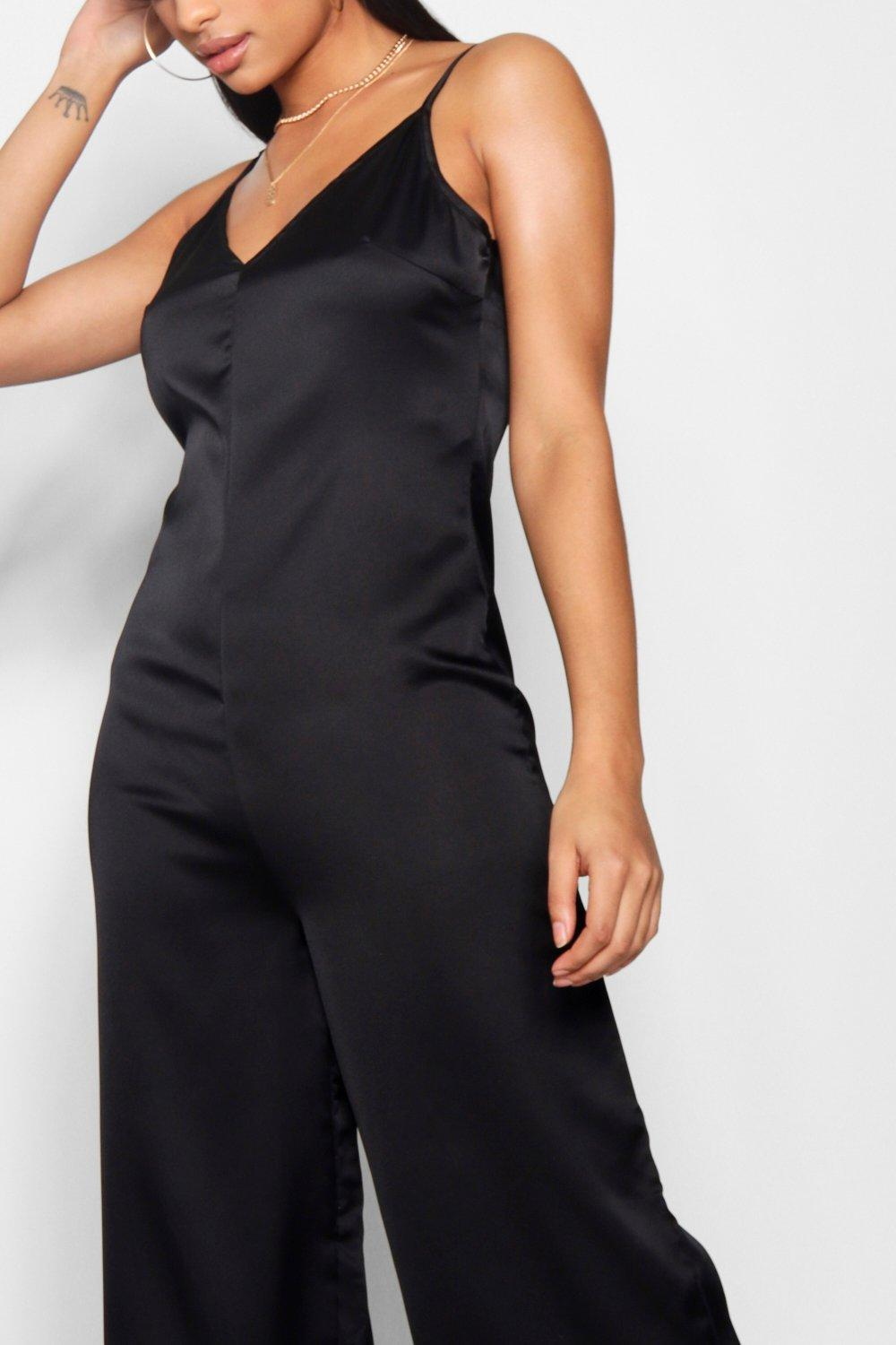 bca3d703199 Lyst - Boohoo Strappy Cami Luxe Satin Wide Leg Jumpsuit in Black