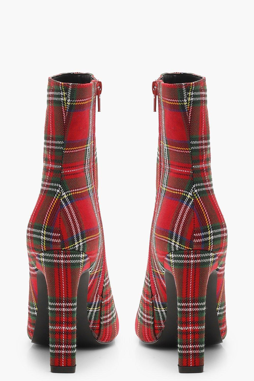 fcebb3381a35 Lyst - Boohoo Tartan Flat Heel Sock Boots in Red