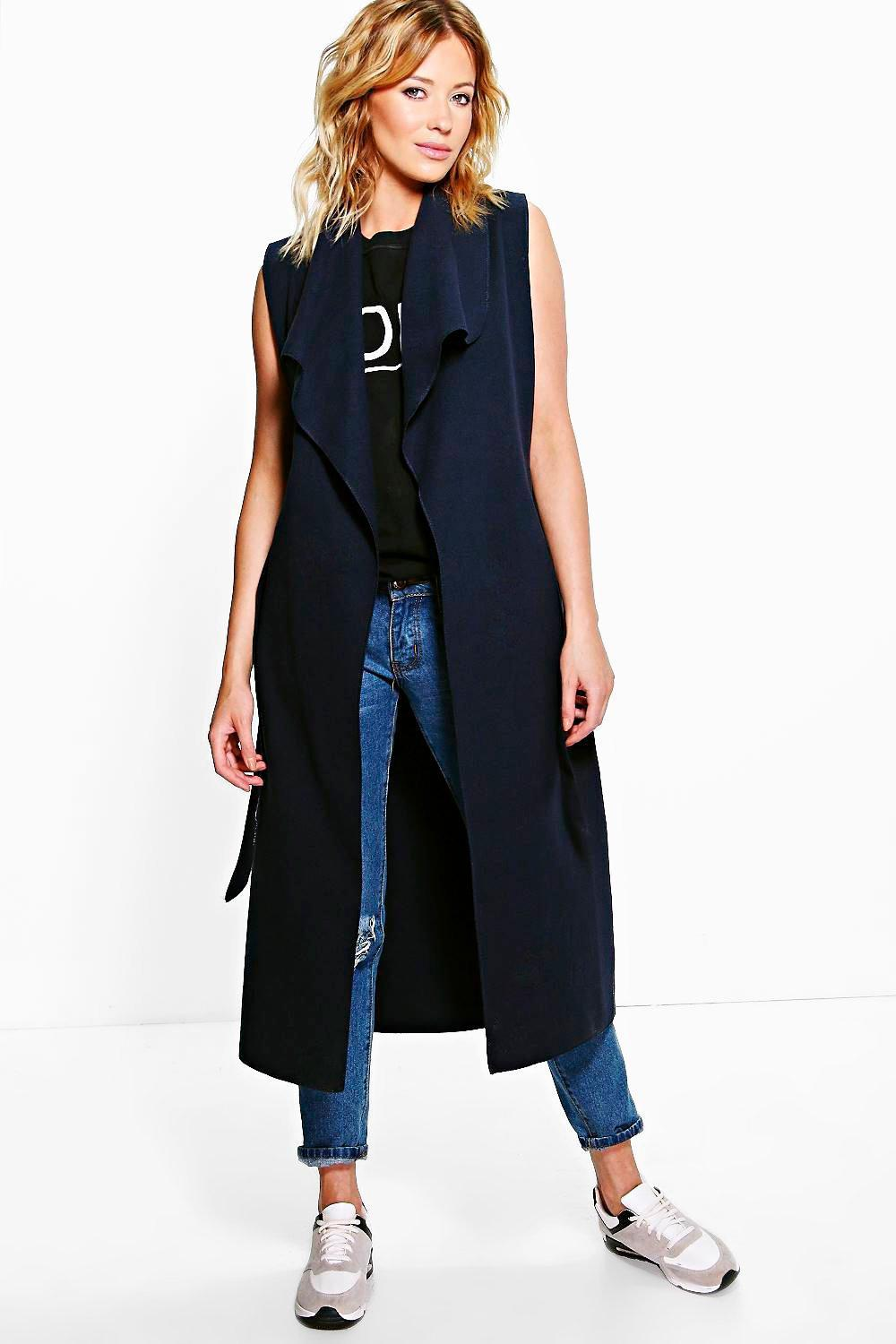 878f5fc5e3570 Lyst - Boohoo Olivia Waterfall Belted Sleeveless Coat in Blue