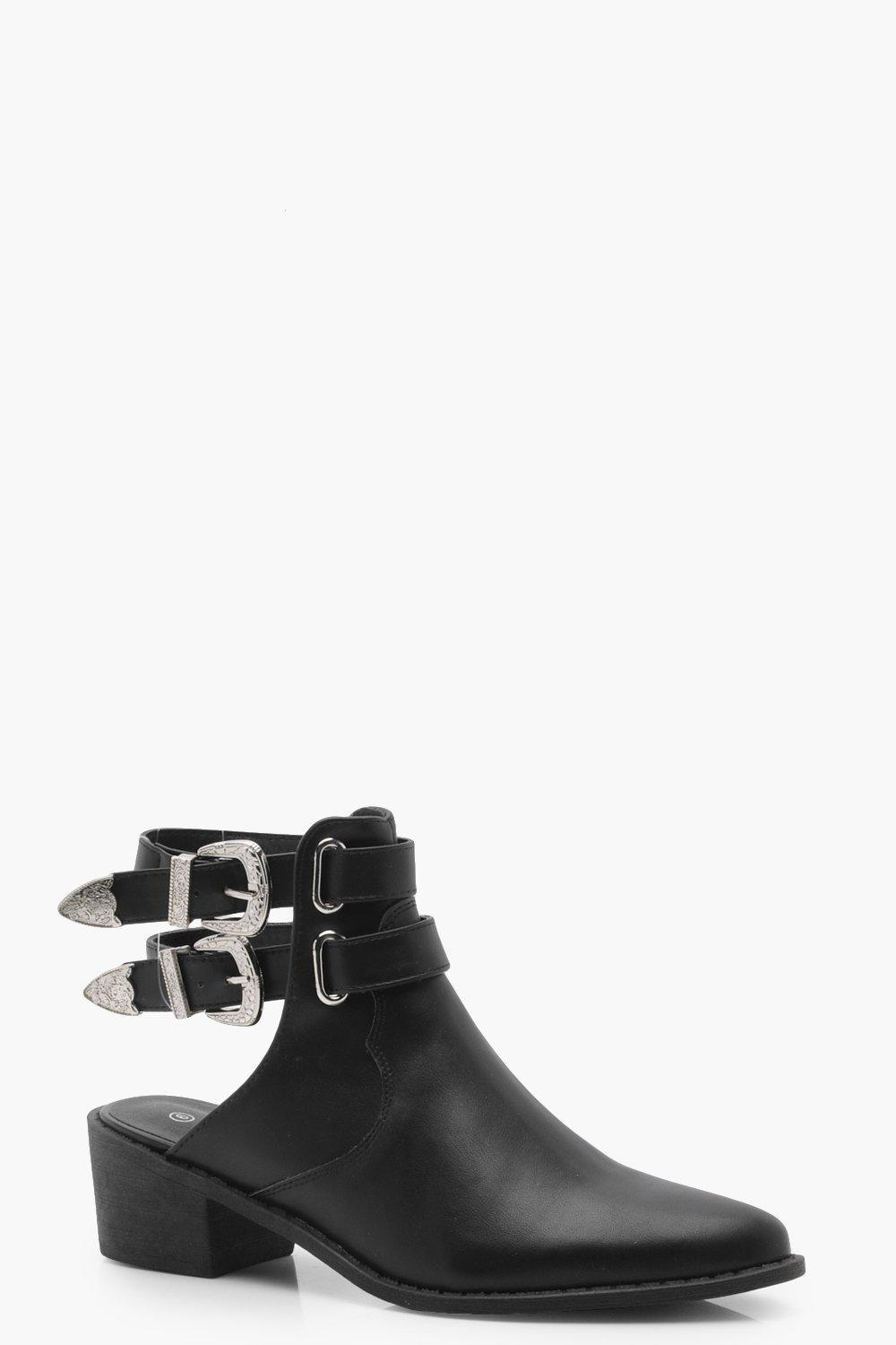 Lyst - Boohoo Western Buckle Open Back Boots in Black 7b87016eeb