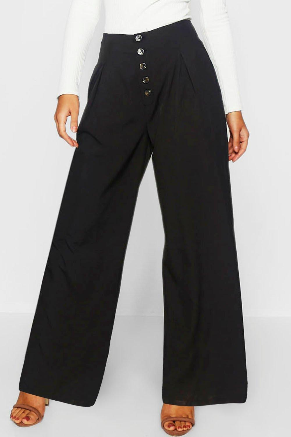 6d3be7402a7d Boohoo - Black Mock Horn Button Wide Leg Trouser - Lyst. View fullscreen
