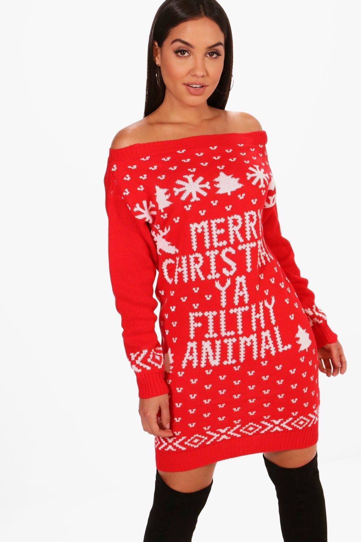 5570a5d69a6 Lyst - Boohoo Lacey Slash Neck Filthy Animal Christmas Jumper Dress ...