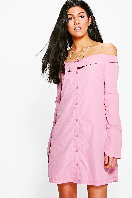 1709d513caf1 Lyst - Boohoo Sheila Off Shoulder Shirt Dress in Pink