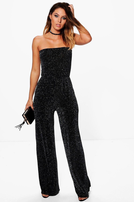 4445029099c1 Boohoo Strapless Wide Leg Sparkle Jumpsuit in Black - Lyst