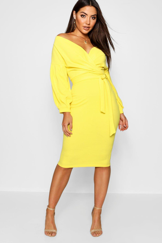 069b731f10c7 Boohoo Off The Shoulder Wrap Midi Bodycon Dress in Yellow - Save 43 ...
