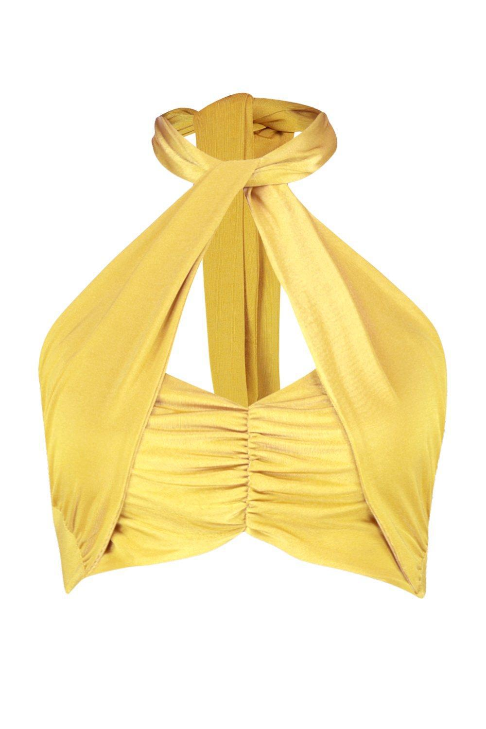 42e8843d0a4f1 Lyst - Boohoo Tie Neck Wrap Crop Bandeau in Yellow