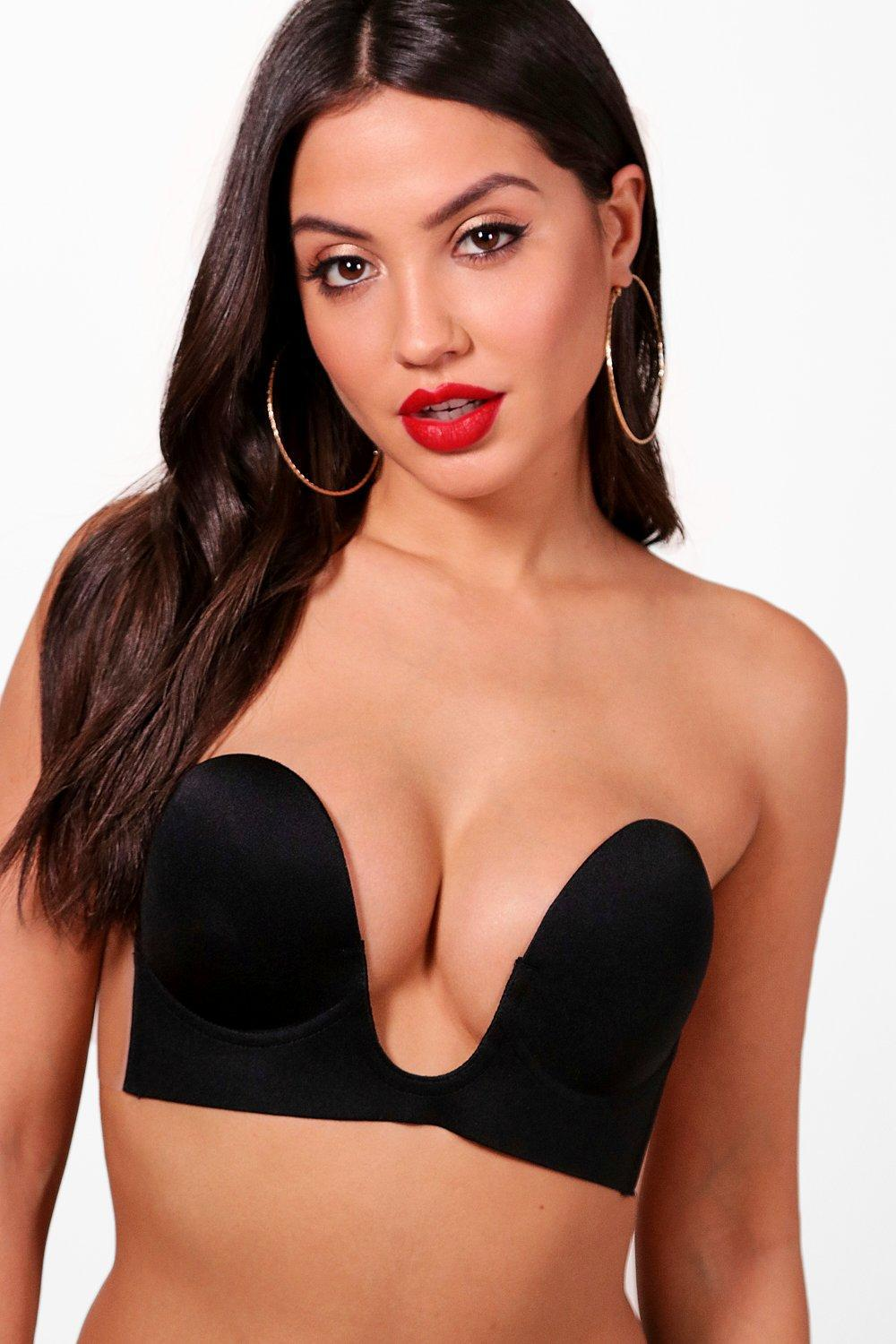 2fc1fe3d4e825 Boohoo Deep U Stick On Bra in Black - Lyst
