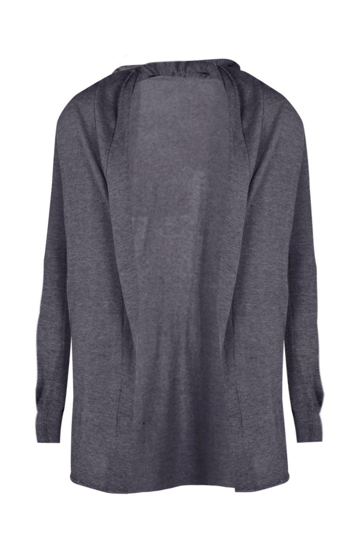 Boohoo Plain Grey Longline Fine Gauge Knitted Cardigan in Gray for ...