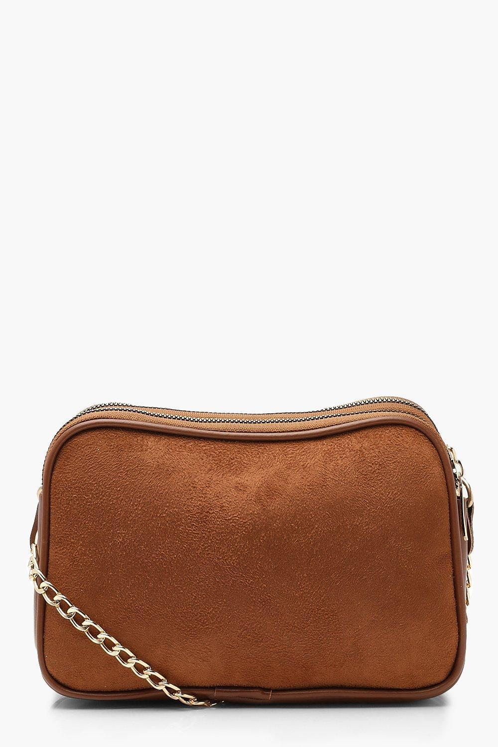 bfaa4710affa Lyst - Boohoo Suedette Dual Compartment Cross Body in Brown