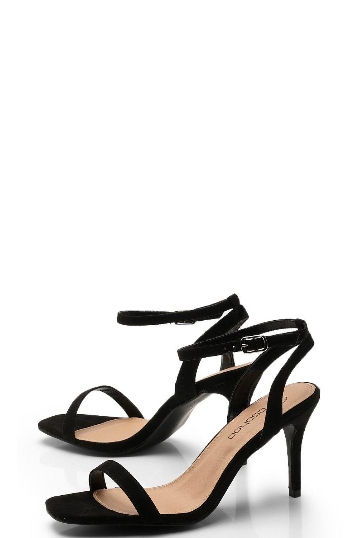 fc5f50a5f310 Boohoo - Black Wide Fit Square Toe Two Part Heels - Lyst. View fullscreen