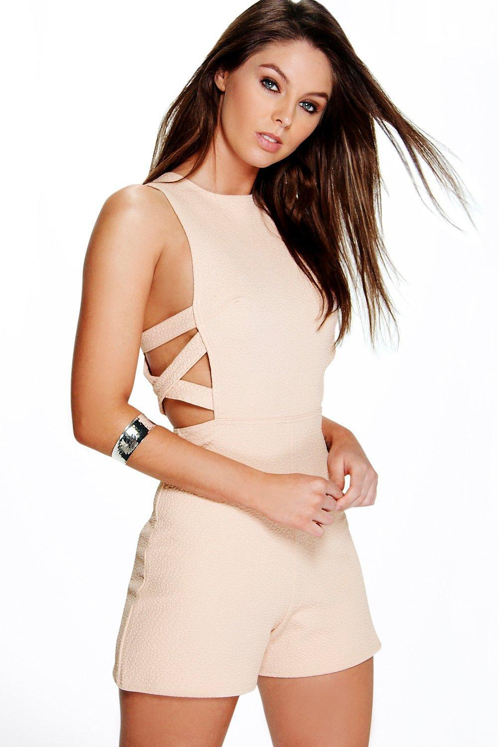 a711ffd5ef Boohoo Sofia Lattice Side Textured Fabric Playsuit in Natural - Lyst