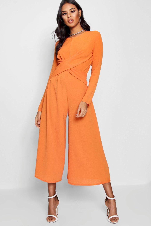 f2b03171d9 Lyst - Boohoo Knot Front Culotte Jumpsuit in Orange