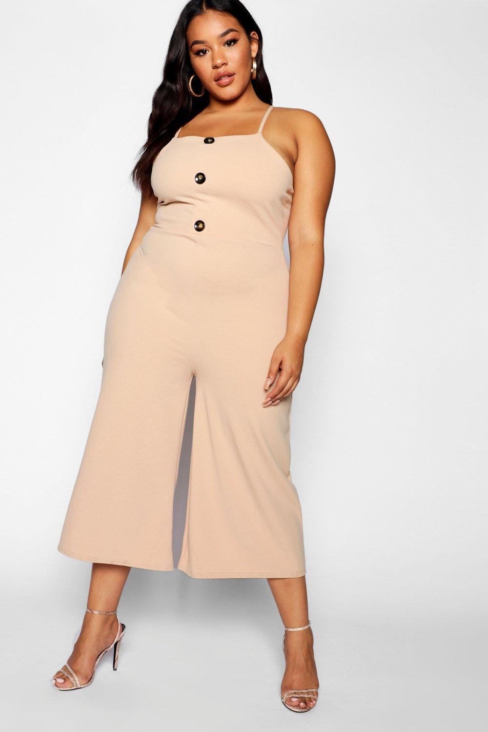 be67c413c7f6 Boohoo Plus Crepe Horn Button Culotte Jumpsuit in Natural - Lyst