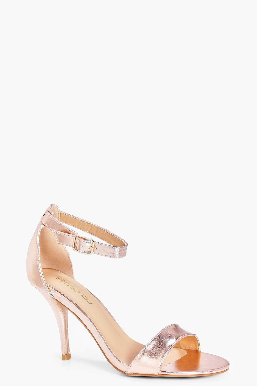 c057e0d537e Boohoo Wide Fit Metallic Mid Heel Two Part Heels - Lyst