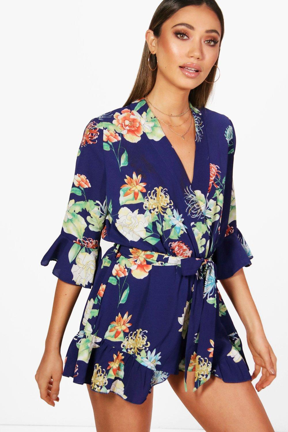 e123ca7a5a Boohoo Floral Kimono Style Playsuit in Blue - Lyst