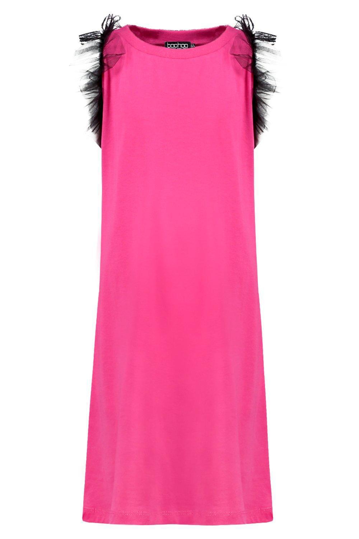 af36b38025 Boohoo Girls Cold Shoulder Ruffle Mesh T-shirt Dress in Pink - Lyst