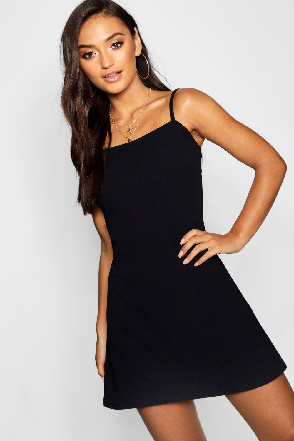 70f4e24c1a81 Boohoo Petite Square Neck Strappy Mini Dress in Black - Lyst