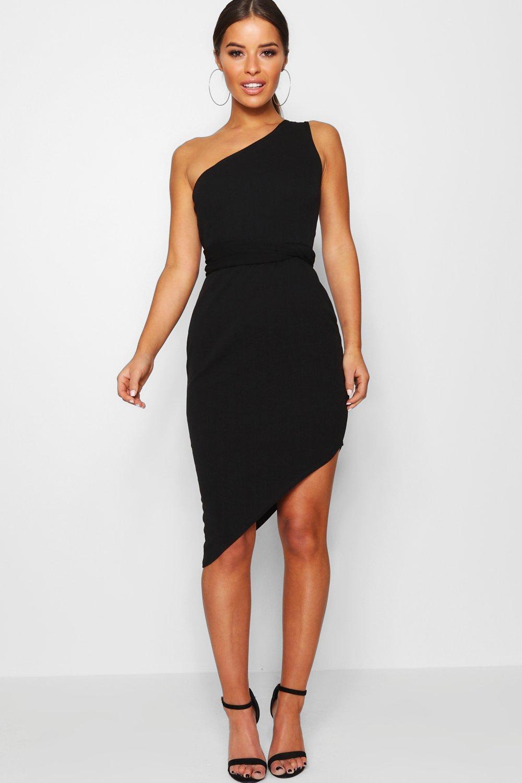 f42266dd760c Lyst - Boohoo Petite One Shoulder Asymmetric Bodycon Dress in Black