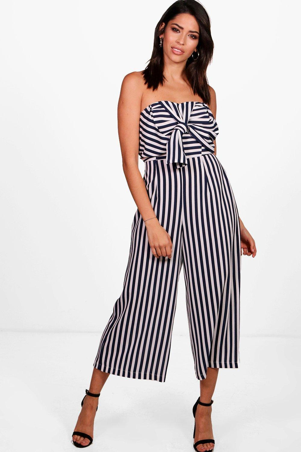 efa701fb2078 Boohoo Twist Bow Front Culotte Jumpsuit in Blue - Lyst