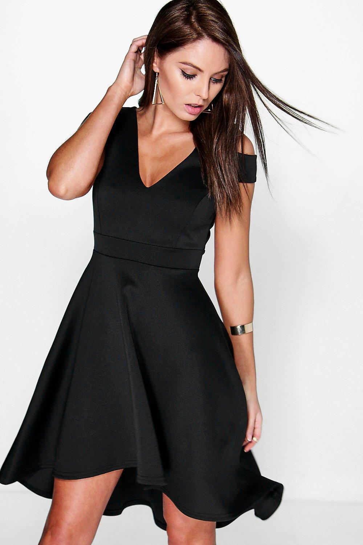 Lyst - Boohoo Bardot Plunge High Low Skater Dress in Black 104786ef7
