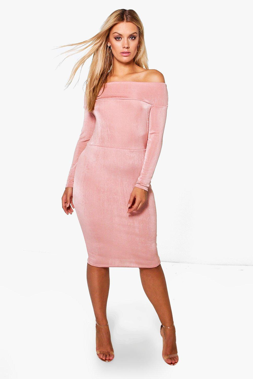 3f100e458a24 Boohoo Plus Jodie Slinky Off The Shoulder Midi Dress - Lyst