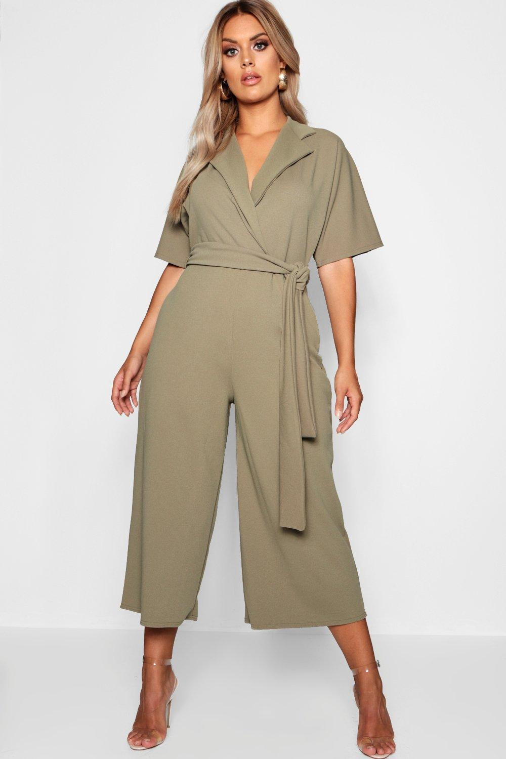 6004966ee64 Boohoo Plus Utility Culotte Jumpsuit in Green - Lyst
