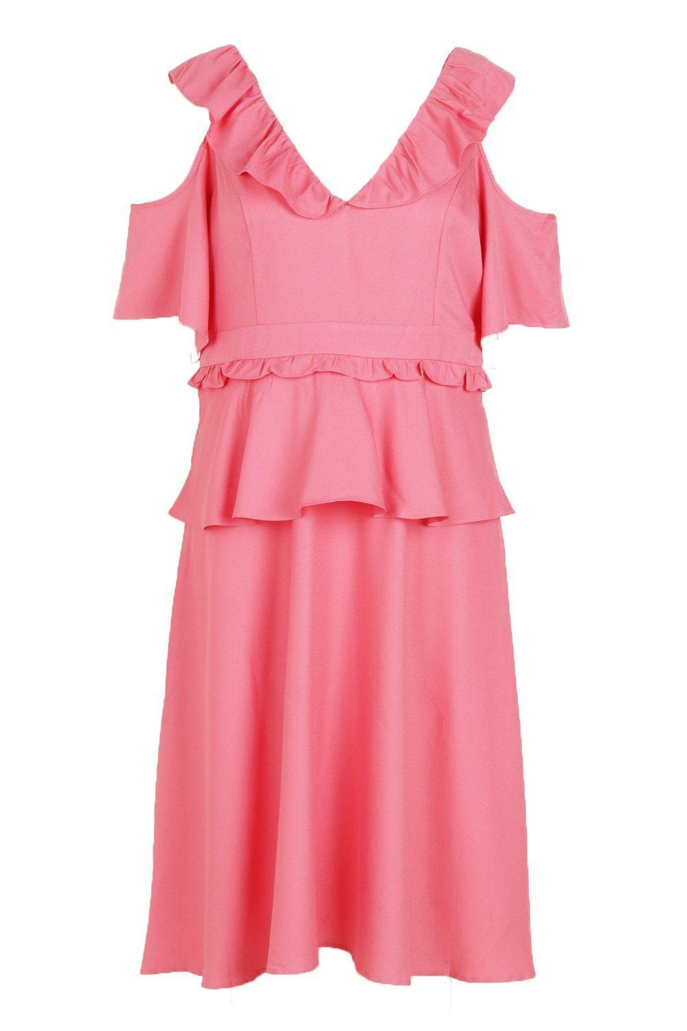 e163fc405dfe ... Plus Double Frill Cold Shoulder Midi Dress - Lyst. View fullscreen
