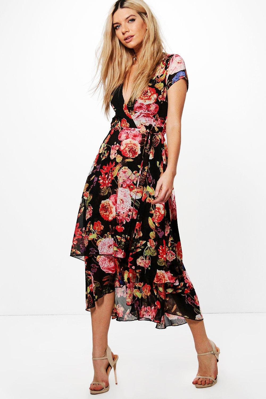 b3e31996bde0 Lyst - Boohoo Mallory Chiffon Ruffle Floral Print Midi Dress in Black