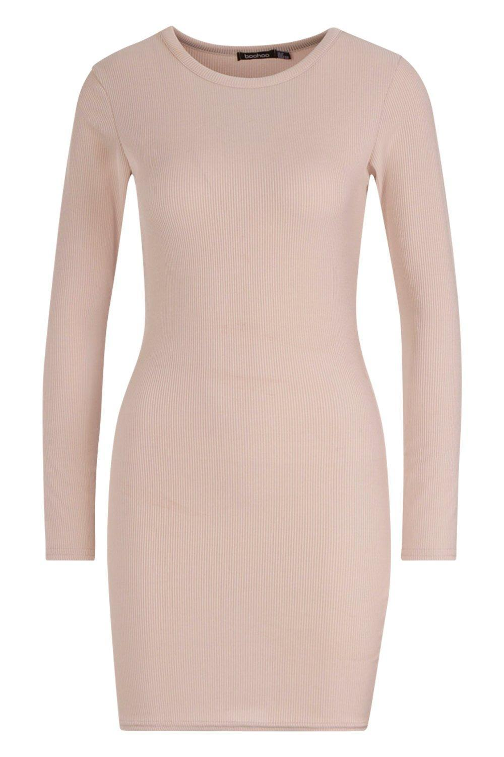 c7c1fe8aa7ef9 Boohoo - Natural Ribbed Basic Long Sleeve Bodycon Dress - Lyst. View  fullscreen