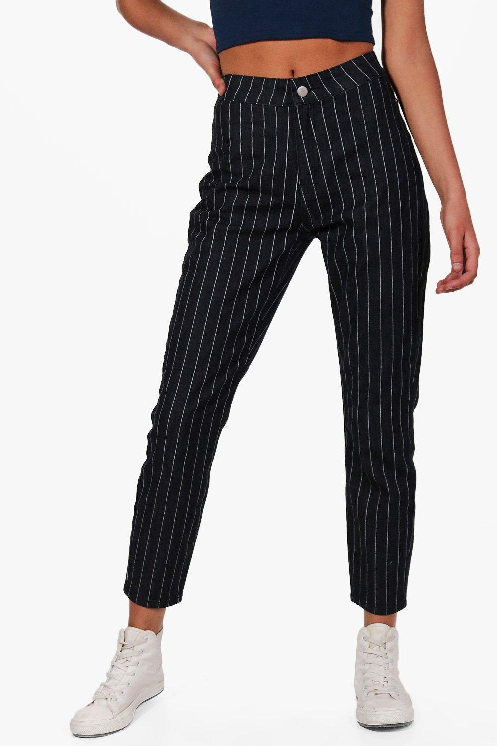 a1fa0195dd46 ... High Rise Stripe Skinny Tube Jeans - Lyst. Visit Boohoo. Tap to visit  site