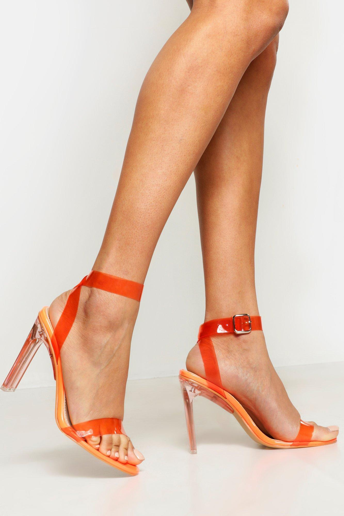 75d9b743af81 Boohoo Clear Heel 2 Part Heels in Orange - Lyst