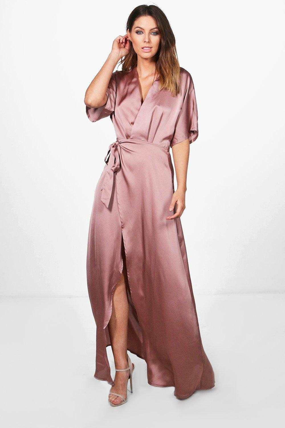 Boohoo Plus High Split Ruffle Satin Maxi Dress