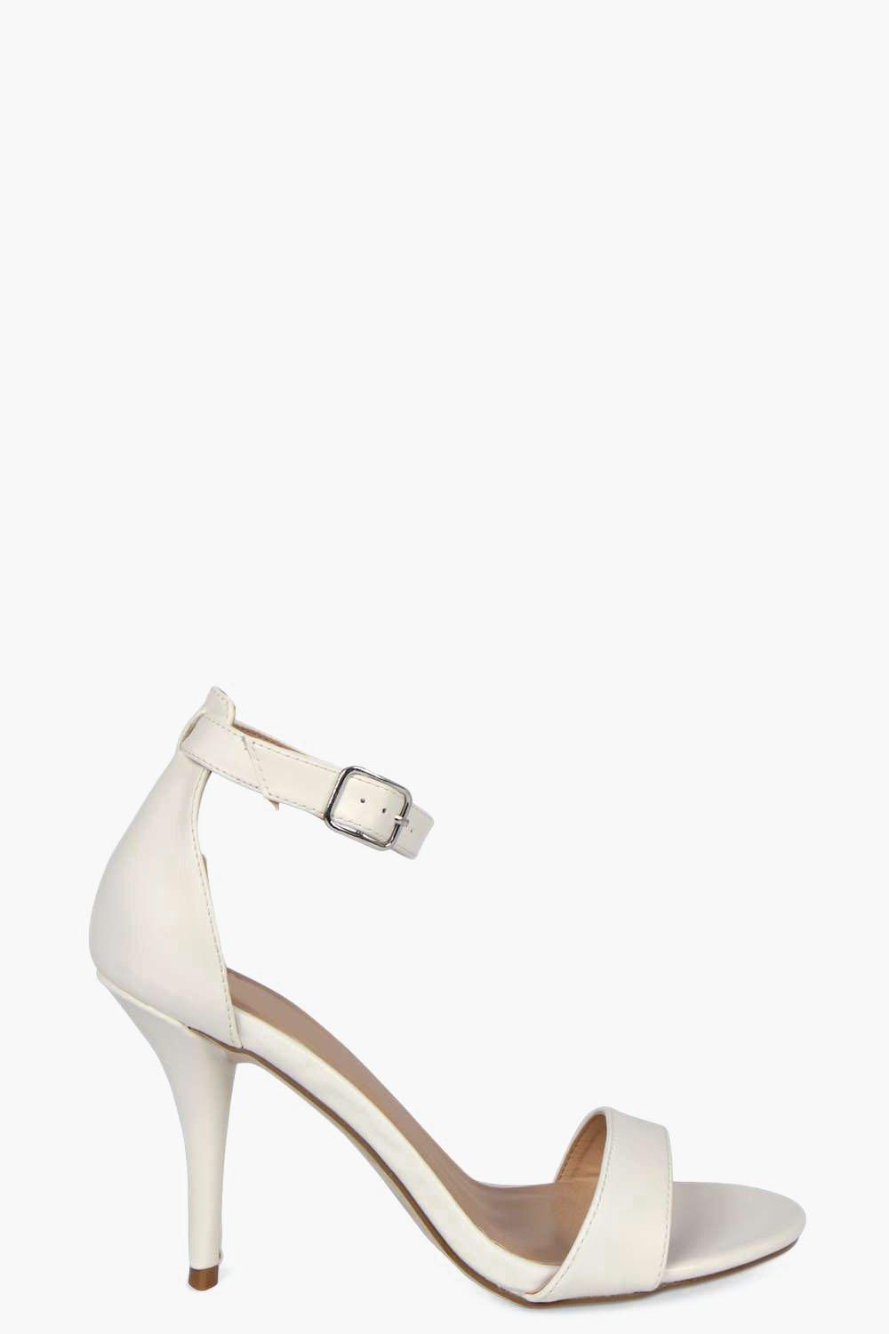 c970b1e12c5 Boohoo Wide Fit Ankle Strap Skinny Mid Heel Two Parts in White ...
